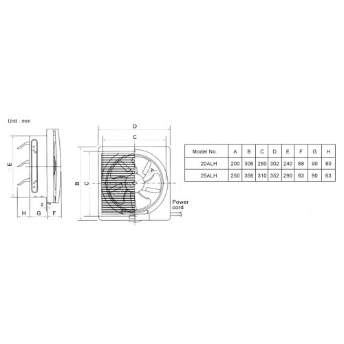 kdk ventilation fan  louver   wall mount   20alh