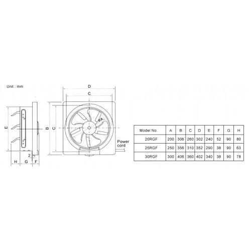 kdk ventilation fan  reversible   wall mount   20rgf