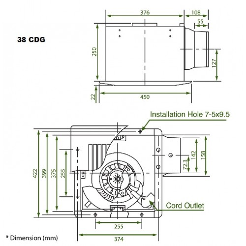 Ventilation fan ceiling mount 38cdg 38chh kdk ventilation fan ceiling mount 38cdg 38chh swarovskicordoba Choice Image